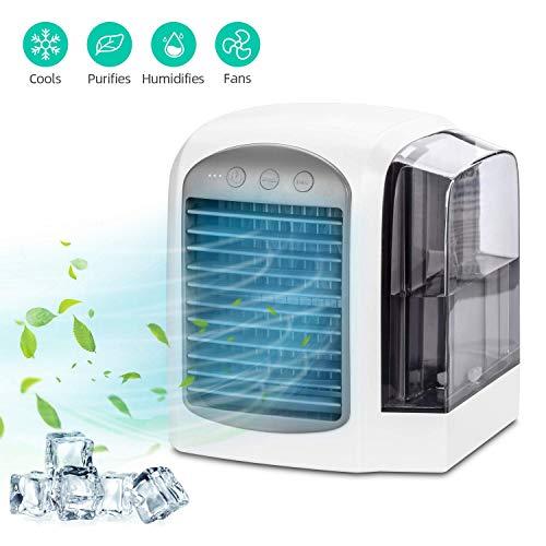 JUNMAONO Air Cooler Mini Luftkühler Luftreiniger Luftbefeuchter 3 in 1 Mobile Klimaanlage Zuhause Büro Hotel Klimaanlage Tragbare Luftreiniger Air Portable Cooler Mobile Luftbefeuchter (Weiß)