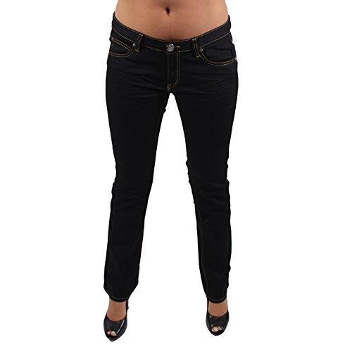 GIORDANO FRANGIPANI Röhrenjeans Damen STRAIGHTFIT Beige Nähte Jeans in Schwarz Schwarz