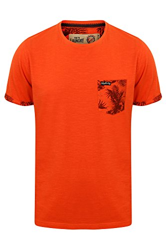 Tokyo Laundry Herren Blusen T-Shirt, Einfarbig orange Orange Small Gr. Medium, Paprika - Orange (Baumwolle Shirt New Hawaiian Herren)