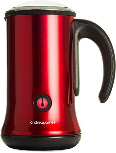 Andrew James – Double Fonction Mousseur À Lait & Chauffe-Lait Électrique En Rouge – 450 Watts – Pour le lait chaud ou froid – 300ml