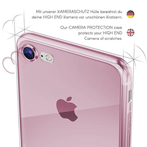 Urcover® Apple iPhone 7 [ KAMERASCHUTZ ] Handy Schutz-Hülle | TPU / Silikon Handyhülle Klar | Flexibel Ultra Slim Dünn | Smartphone Zubehör Back-Case | Soft Crystal Cover Schale Pink Transparent