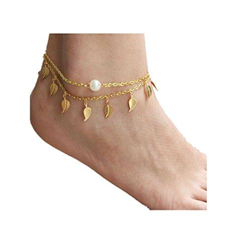 Vovotrade✿✿2017 Frauen Layered Quaste Perle Fußkettchen Blätter Knöchel Armband Strand Fuß Schmucksachen (Girls Teen Indian Kostüme)