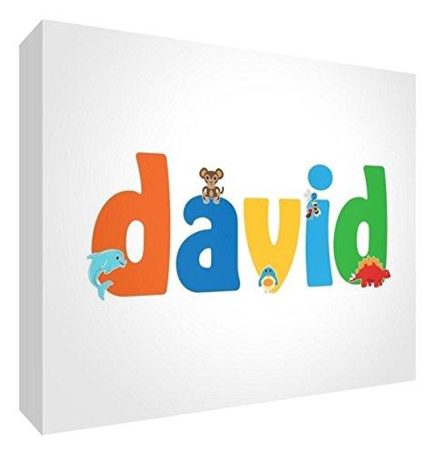 Little Helper DAVID-A5BLK-15DE Diamant Poliert Baby Andenken/Token, den Namen Cute Illustrationen und Personalisiert, Jungennamen, 15 x 21 x 2 cm, groß -