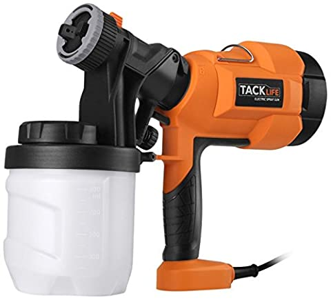 Tacklife SGP15AC Electric Spray Gun Hand Held 400W Paint Sprayer with 3 Spray Patterns Ideal for Car Parts, Wall & Fence Spray and Staining Deck or Refinishing Lawn Furniture, Orange/Black/White