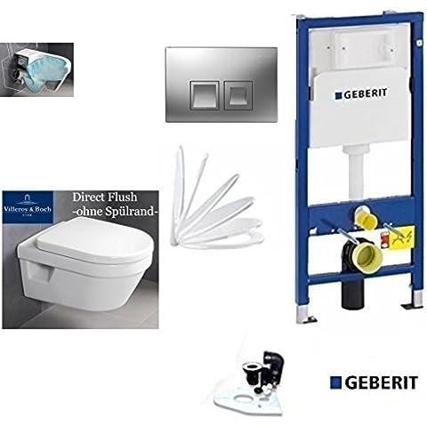 Geberit Duofix, V & B Omnia Combi de Pack Architectura, directf Lush inodoro cisterna. Los Juego completo + Tapa softclose, Ceramicplus placa de accionado cromo rectangular
