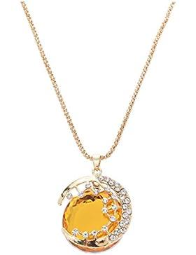 Halskette - SODIAL (R) Frauen Stern Mond Zeit Edelstein Halskette Anhaenger (gold)