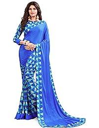 aa7388e410 Women's Crepe Silk Half N Half Printed Party Wear Saree