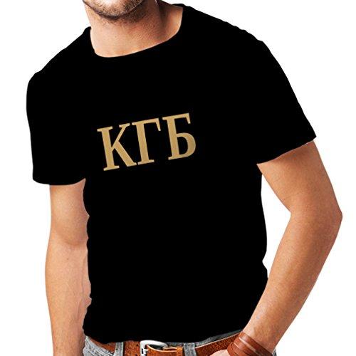 Männer T-Shirt Politisch - KGB, UdSSR - CCCP, Russisch, Русский (Large Schwarz Gold)