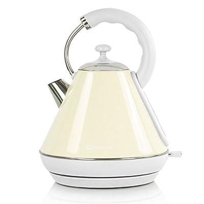 Bouilloire électrique sans fil, ébullition rapide, 2200W 1.8L - Crème
