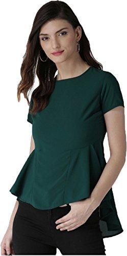 J B Fashion Women American Western Wear Crepe Green Color Top (X-Large)