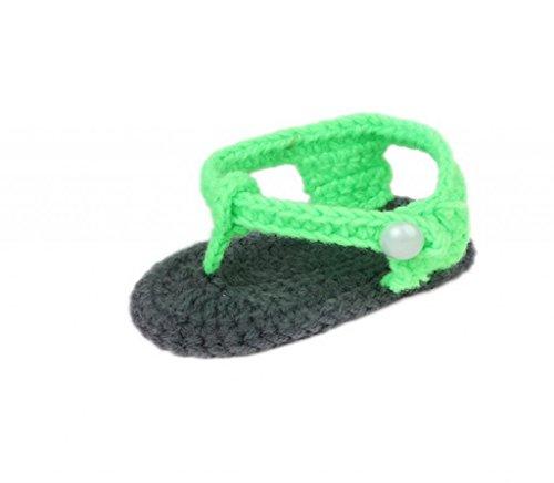 Smile YKK 0-12 mois Bébé Chaussure Tricot Uni Unisexe Chaud Souple Pantoufles A la main Vert