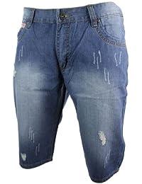 811d961f627c T2 TAKE TWO Herrenshorts Denim Jeans Straight Cut Hellblau Gerissen Design  Strand Sommer