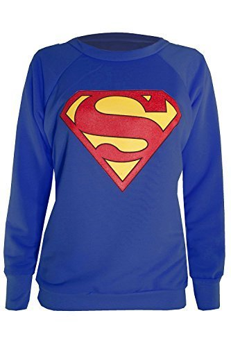 Neu Damen Ärmelloses Muskel Racerback Dehnbar Damen Comic Superhelden Held Mädchen Superman Batman Weste T T-shirt Tank Top - Sweatshirt Superman Blau - Fleece Baumwolle 100%, XL 44/46 (Pullover Racerback)