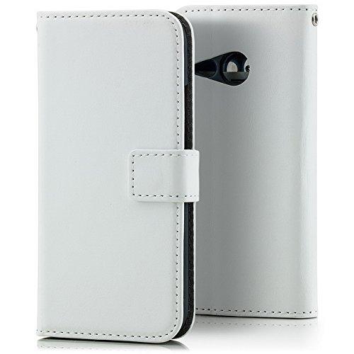 Saxonia Tasche HTC One Mini 2 Hülle Flip Case Schutzhülle Wallet mit Kartenfach Weiß