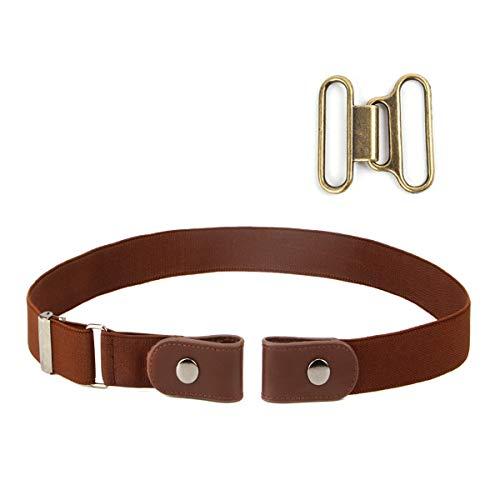 Cinturón sin hebilla de los hombres de las mujeres Cómodo No Hebilla Cinturones elásticos Pantalones vaqueros Cinturones invisibles Cinturones ajustables Se ajusta a 24 'a 38' (Marron Oscuro)