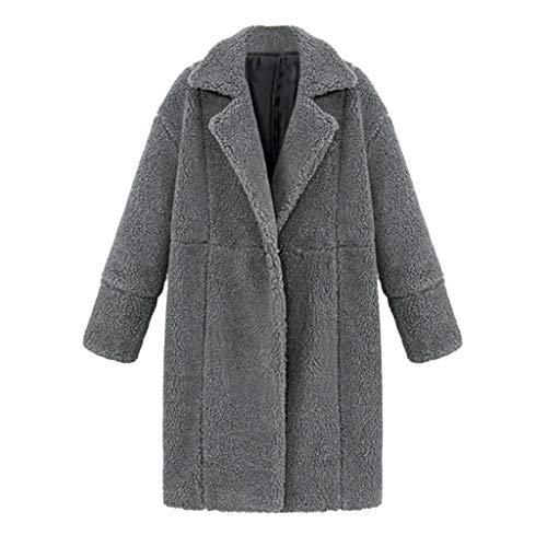 ZEELIY Damen Mantel Cardigan Faux Für Revers Oversize Plüschjacke Winterjacke Kurz Coat Parka Outwear Mit Tasche