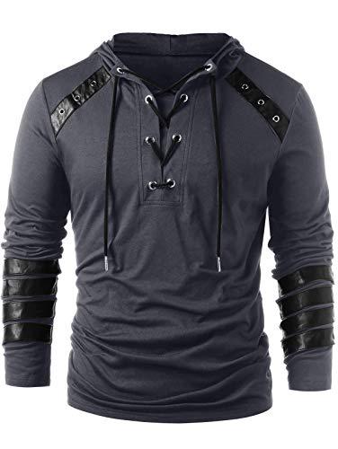 CharMma Herren Sweatshirt Casual Einfarbig Lace Up Faux Leder Pullover Hoodie Sweatshirt (Dunkelgrau, M) -