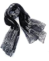 La Loria Damen Mode Schal Tücher Indian Style Schwarz flauschig weich