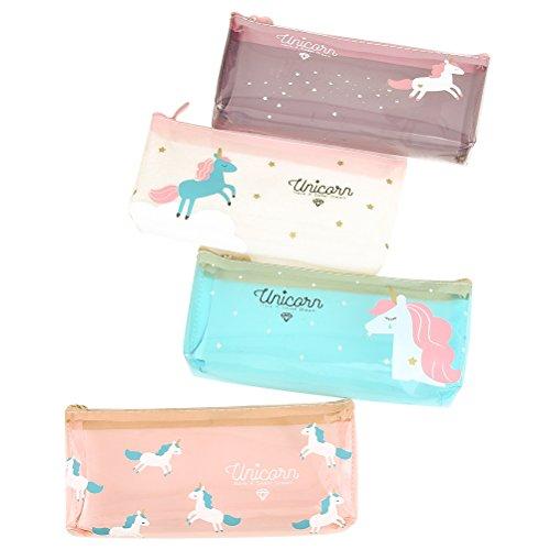 TOYMYTOY Unicorn Federmäppchen Kinder Transparent Einhorn mäppchen Federmäppchen,Mädchen Kosmetik Make-up Beutel,4 Stück