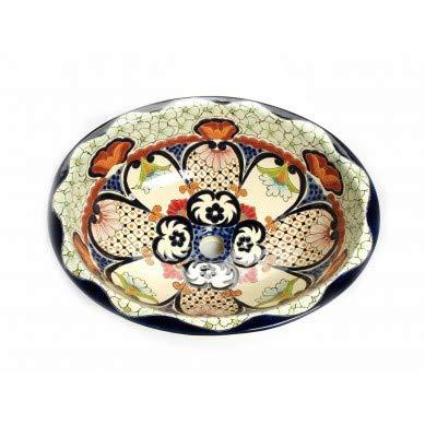 Juanetta - Mexikanisches Ovales Waschbecken | Oval Einbauwaschbecken mit Rand | Keramik Talavera Einbau/Unterbau Waschbecken aus Mexiko