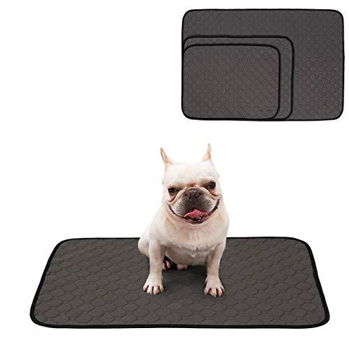 Tineer waschbare Welpen Training Pad Pet Mat Anti-Rutsch-Wiederverwendbare Hund Pee Pad Decke für Hund/Katze/Kaninchen (L, Grau) -