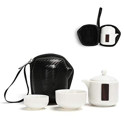 CAISE Théière Blanche, Porcelaine, Blanc, Tasse de voyage de courte distance (avec 2 tasses)-Blanc 200 ML