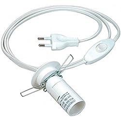Kabel mit Schalter Fassung E14 weiß 168cm lang für Salzlampe