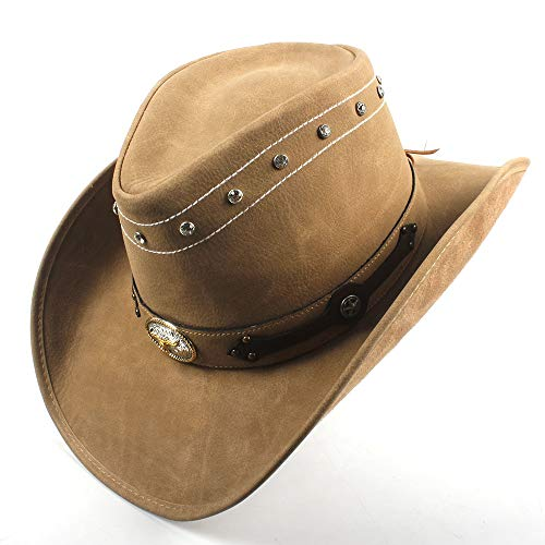 AM-women's hat Mode 100% Leder männer Western Style Cowboy Hut für Gentleman Fedora Hut Gentleman Papa Sombrero Hombre Jazz caps größe 58-59 cm Komfort (Farbe : Khaki, Größe : 58-59) Western Style Mode-hut