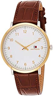 TH WATCH MEN'S WHITE DIAL HONEY BROWN LEATHER WATCH - 179