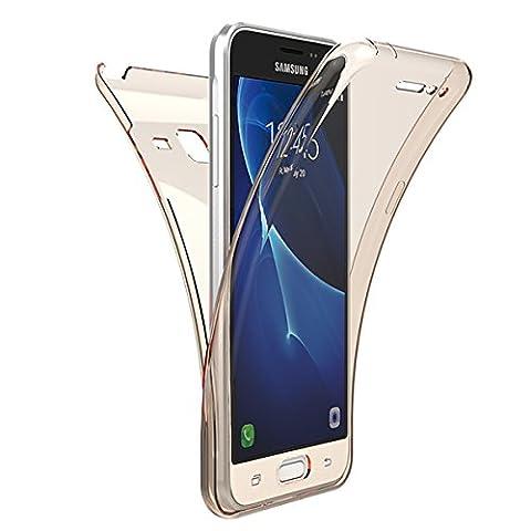 Coque Galaxy J3 2016, Housse Galaxy J3 2015, GrandEver Etui 360 intégral Protection complète Transparente Clair Silicone TPU Souple Cover Flexible Caoutchouc Étui en gel Case pour Samsung Galaxy J3 2016/J3 2015 -- d'or