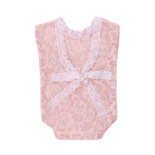 Fotografie Requisiten Neugeborene, Neugeborene Säuglingsbaby-Spielanzug Spitze Stütze OverallPrinzessin-Kleidung (Beige) ()