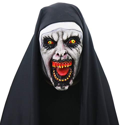 Hunde Kostüm Devil - WEYQ Halloween Devil Nonne Horror Maske für Frauen Menmasquerade Kostüme The Conjuring Full Head Maske Cosplay Gruselige Spukhaus Prop Bloody Zombie
