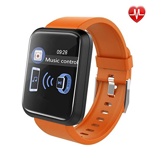 Intelligente Uhr Fitness Tracker Pulsmesser Mehrere Sportmodus Smart Bluetooth Armband Blutdruck Blutsauerstoffsättigung IP67 Wasserdicht Android/iOS (Color : Orange) - Basketball Smart Sensor Der