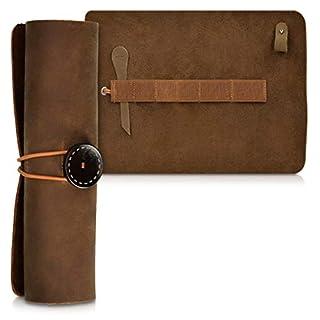 kalibri Trousse en cuir véritable - Étui vintage pour rangement crayon stylo pinceau - Pochette à rouler avec bande élastique - marron foncé