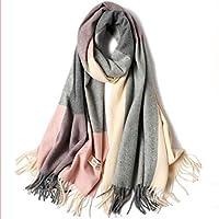 HYD Bufandas de otoño e Invierno Piel Larga de Punto Suave de Lana Gruesa mantón cálido de Doble Uso 200 * 70 CM (para Mujeres)