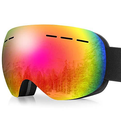 arteesol Skibrille, Snow Snowboardbrille Damen Herren Sportbrillen UV-Schutz Anti-Fog Skibrille (Schwarzer Rahmen + roter Spiegel)