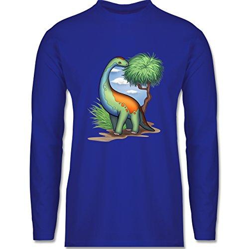 Shirtracer Sonstige Tiere - Dino - Langhals - Herren Langarmshirt Royalblau