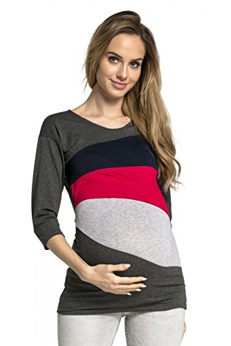 c3b8c915d HAPPY MAMA Mujer Top Camiseta Premamá Lactancia Bloque De Color Doble Capa  217p (Armada