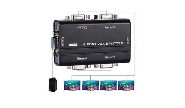 takestop/® Splitter 4 Porte 250MHz VGA 1920X1440 per COLLEGARE 4 Monitor TV PROIETTORE AD 1 Computer