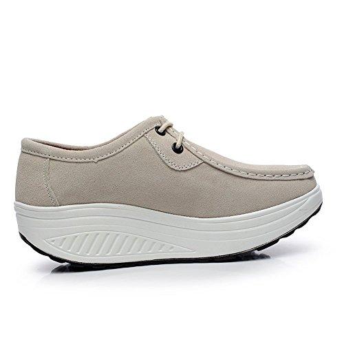 Shenn Femmes Confortable Plate-forme Suède Cuir Entraîneur Chaussures 1061 Beige
