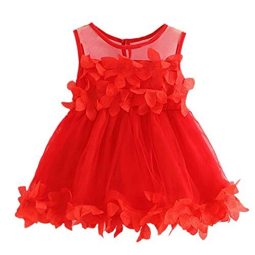 y MäDchen äRmellose Feste TüLlrock Blumenkleider Prinzessin Kleid Kleinkindprinzessin Spitzenkleid Minikleid Sommerkleid Hochzeit Taufkleid BlumenmäDchen(rot,70/6) ()