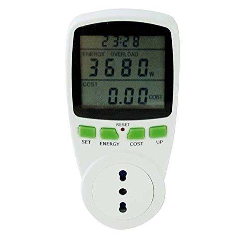 Power Meter mit Display LCD 230V 16A–Instrument zur Überwachung des Stromverbrauchs der Geräte, spina-presa Italienische