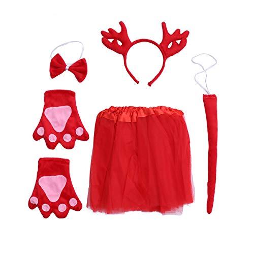 Dance Kostüm Dragon - Fenical Kinder Mädchen Party Tier Cosplay Kostüm Red Dragon Stirnband Handschuhe Krawatte Tüll Tutu Rock 5 stücke
