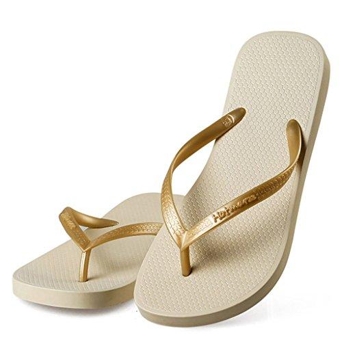 Hotmarzz Chanclas de Verano Mujer Sandalias Tacon de Playa Zapatillas de Casa Pantuflas Size 38 EU / 39 CN, Beige