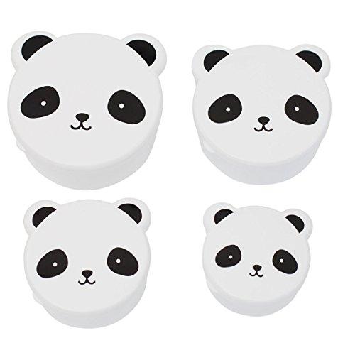 A little lovely company - Snack box: Panda - Butterbrotsdose, Pausendose - Pandadose - 4er Set (Petite Panda)