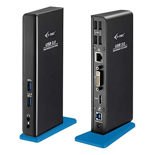 i-tec USB 3.0 Dual Docking Station für Tablets und Notebooks (HDMI, DVI - 2x Full HD+, 4x USB 2.0, 2x USB 3.0, Gigabit Ethernet, Audio/Mik, Kompatible mit Windows, MacOS, Linux)
