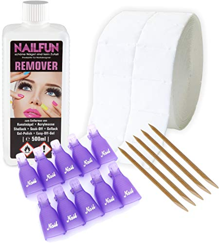 Soak Off Gel Remover (REMOVER Komplett-Set zum entfernen von Gellack, Shellack, Nagellack, Soak-Off, Gel-Polish, Easy-Off-Gel, Acrylmasse und Tips)