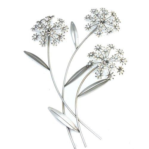 Wanddekoration Blume, Wandbild, Blechbild, Metall, Silber, Höhe ca. 63cm