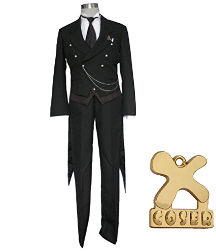 (Black Butler Kuroshitsuji Sebastian Michaelis Anime Cosplay Costume 1st Version in Size XXL)