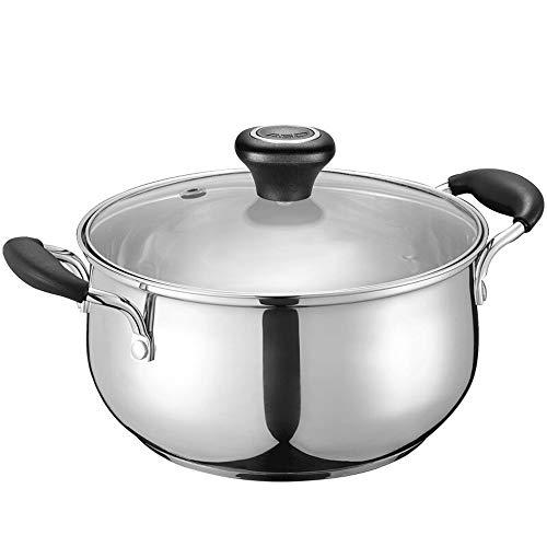 Olla cacerolas Cocina Olla de sopa de acero inoxidable Bandeja gruesa de fondo plano Antiadherente Gran...